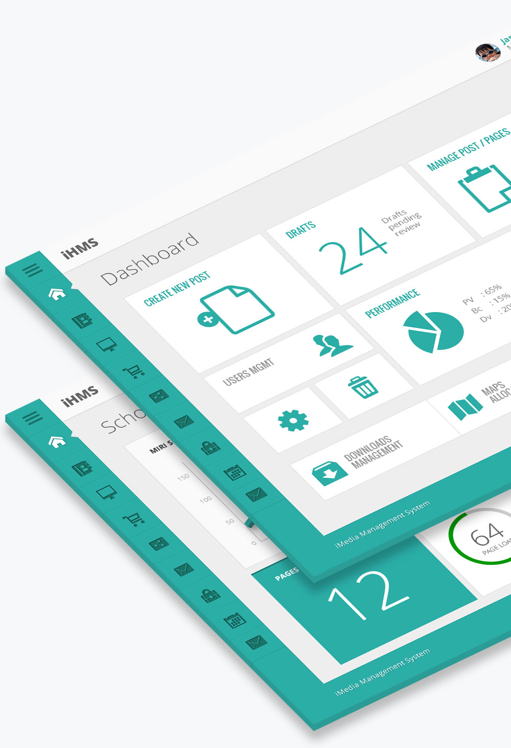 admin dashboard design on isometric view