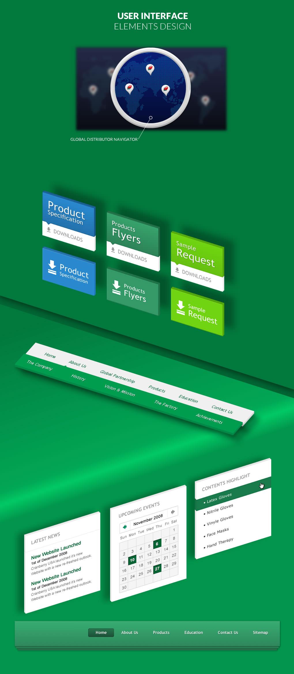 user interface elements such as buttons cards widgets menubar