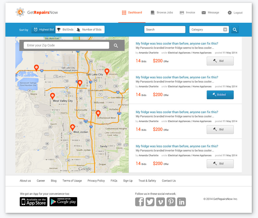 map location and bidding screen