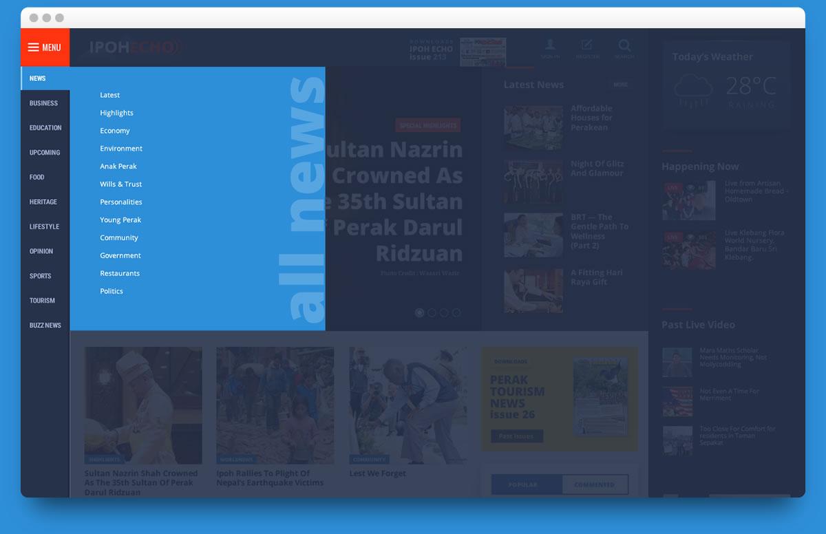 desktop version multi level menu design