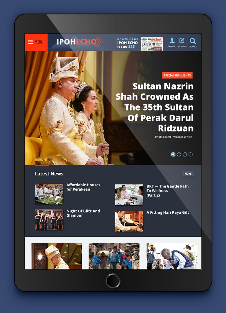 news app design on tablet